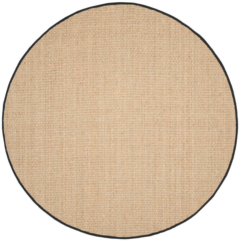 safavieh natural fiber beige black 8 ft x 8 ft round area rug nf114c 8r the home depot. Black Bedroom Furniture Sets. Home Design Ideas