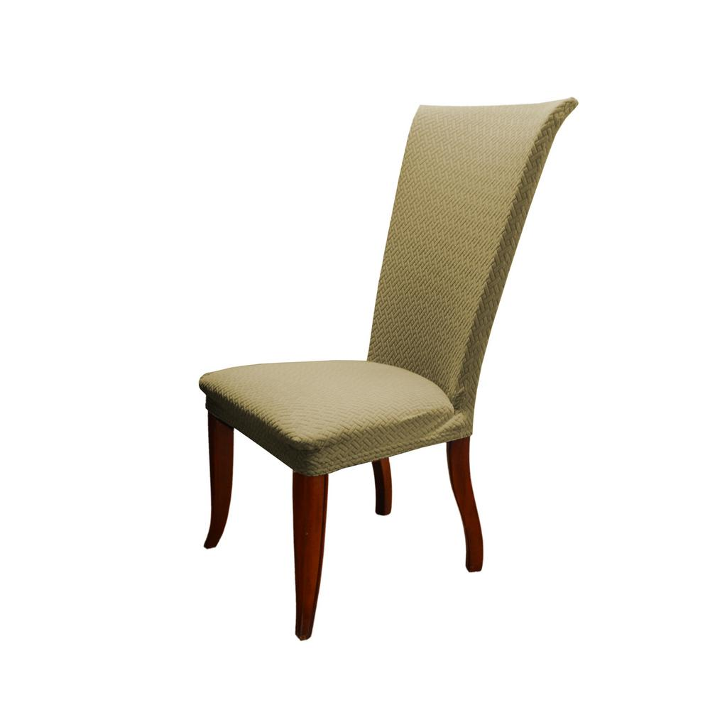 Taupe Basket Weave Texture Stretch Dining Chair Slip Cover
