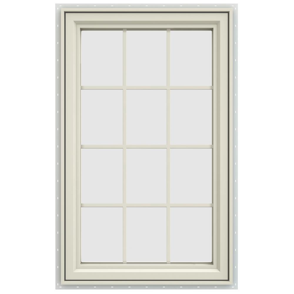 29.5 in. x 47.5 in. V-4500 Series Left-Hand Casement Vinyl Window with Grids - Yellow