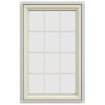 35.5 in. x 47.5 in. V-4500 Series Left-Hand Casement Vinyl Window with Grids - Yellow