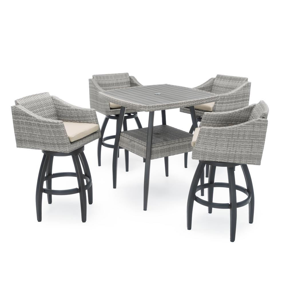 RST Brands Cannes 5-Piece Wicker Outdoor Bar Height Dining Set with Slate Grey Cushions