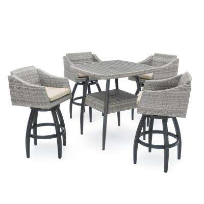 Cannes 5-Piece Wicker Outdoor Bar Height Dining Set with Slate Grey Cushions