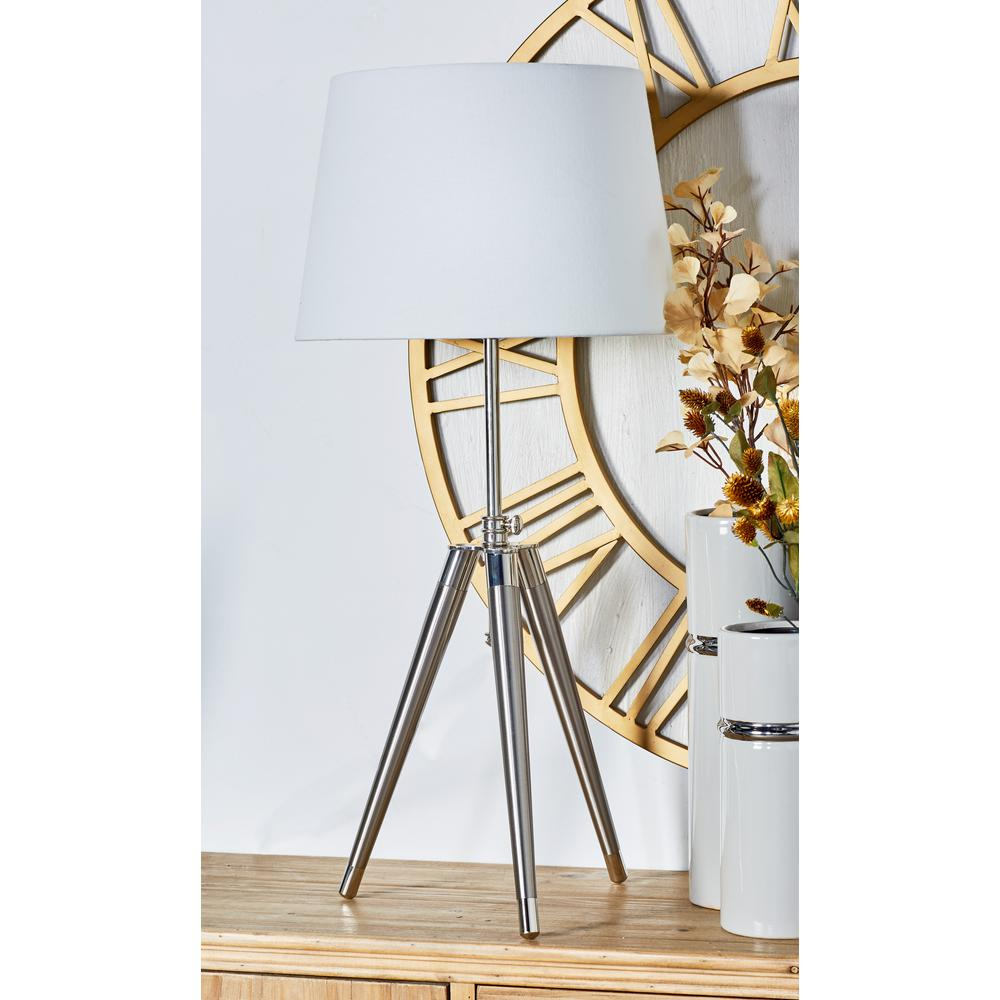 Silver Tripod Table Lamp With White Drum Shade