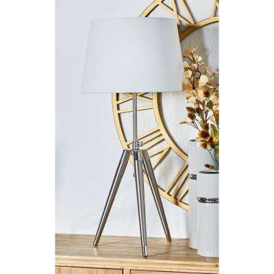 33 in. Silver Tripod Table Lamp with White Drum Shade
