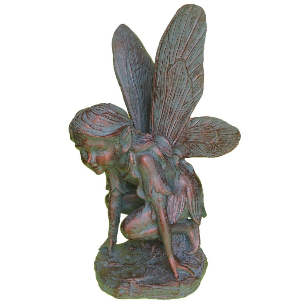 Incroyable Fairy Butterfly Bronze Patina Collectible Garden Statue