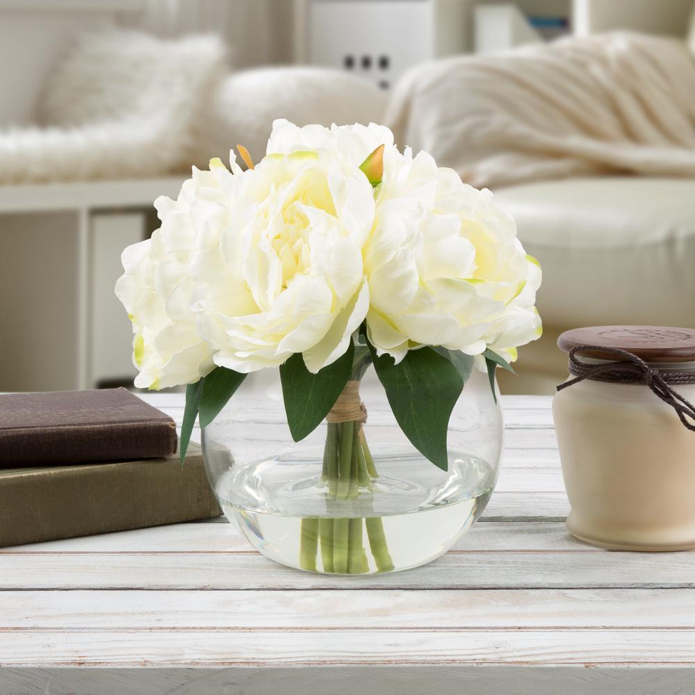 8 in. Rose Artificial Floral Cream Arrangement