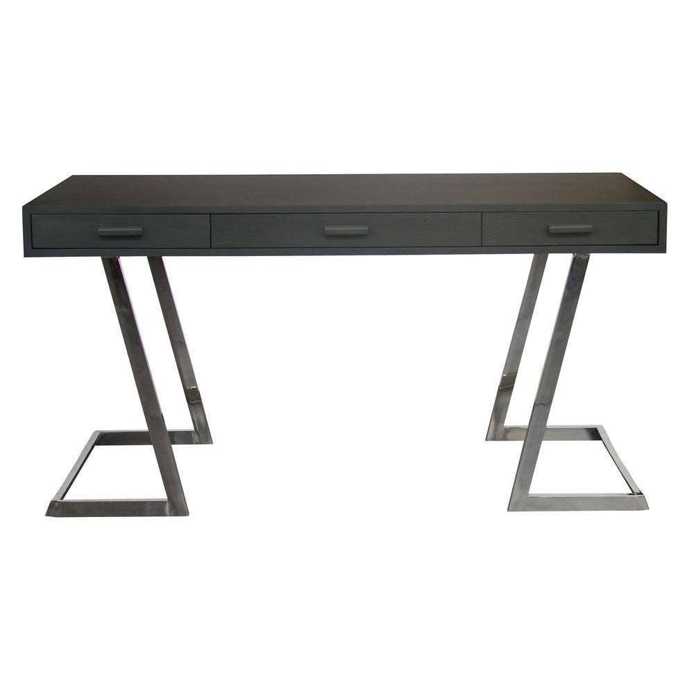 Armen Living Juniper Grey Desk with Polished Stainless Steel