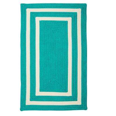 Griffin Border Turquoise/White 7 ft. x 9 ft. Braided Indoor/Outdoor Area Rug