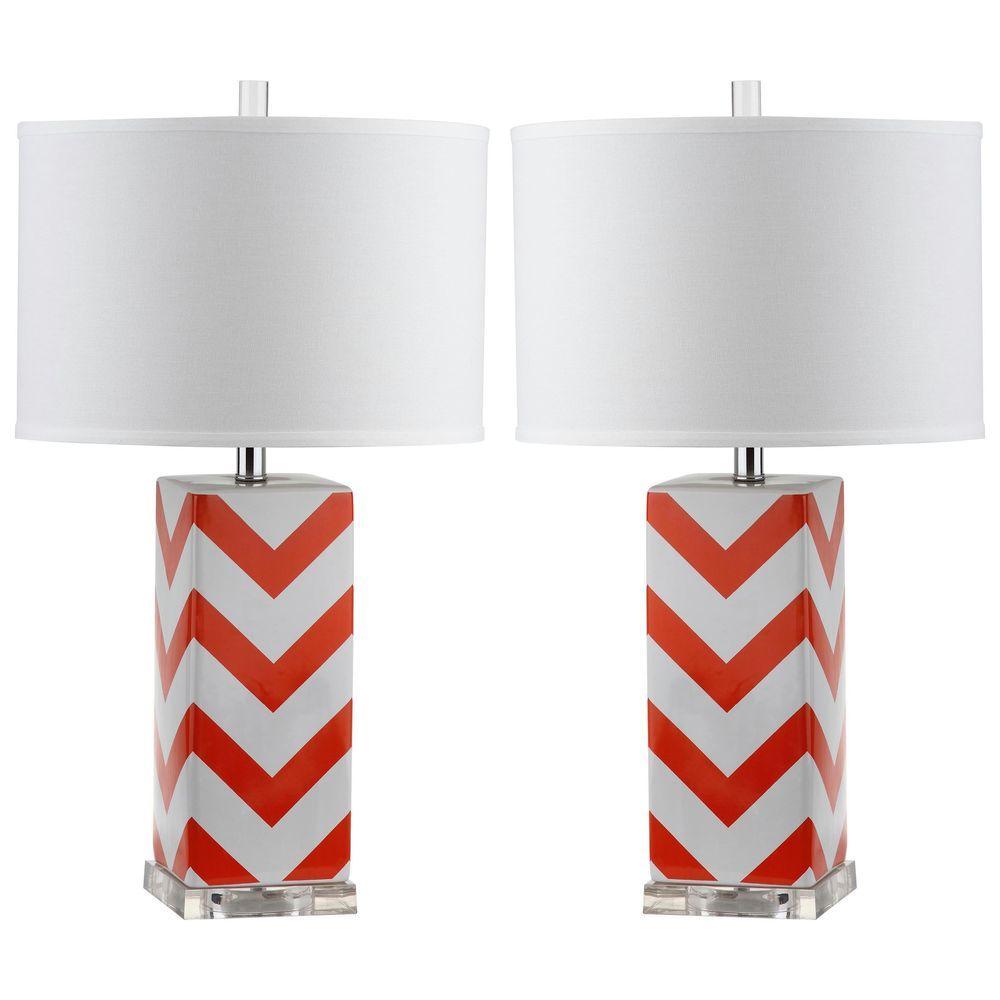 Chevron 27 in. Orange Stripe Table Lamp (Set of 2)