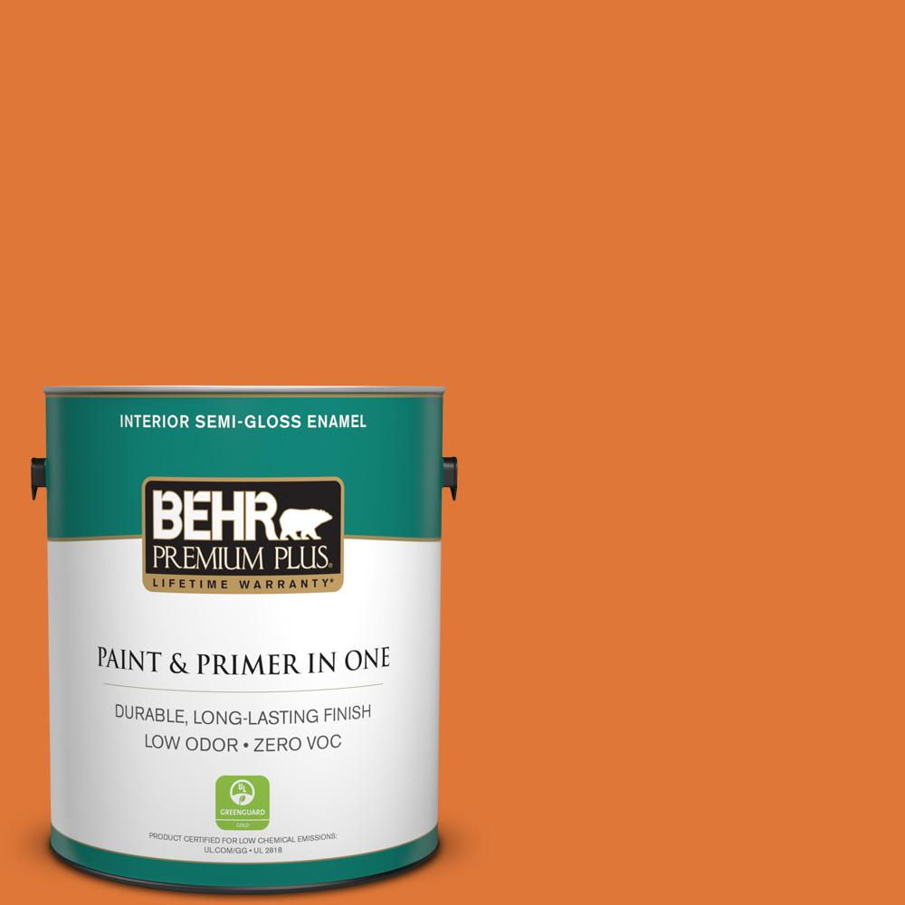 1 gal. #240B-7 Carrot Stick Semi-Gloss Enamel Zero VOC Interior Paint