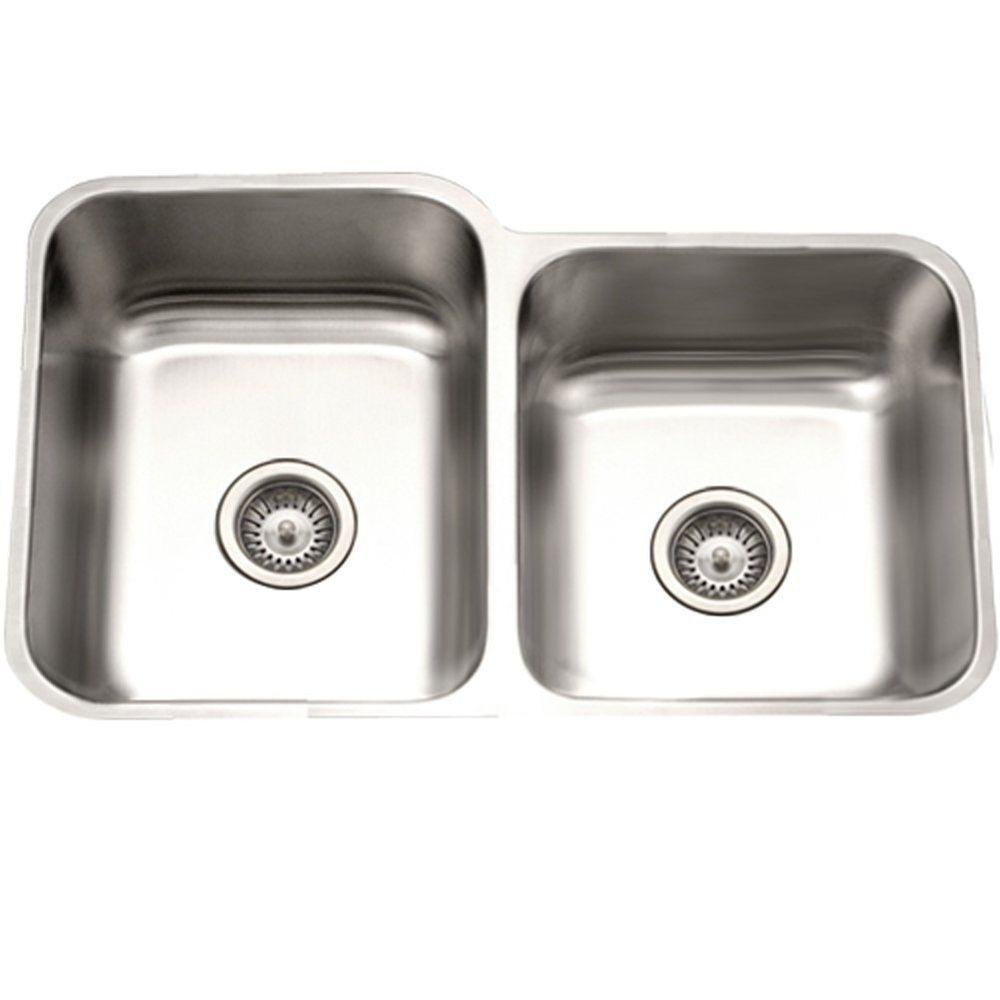 Awesome HOUZER Eston Series Undermount Stainless Steel 31 In. Double Bowl Kitchen  Sink With Satin Finish PNE 3300SR 1   The Home Depot