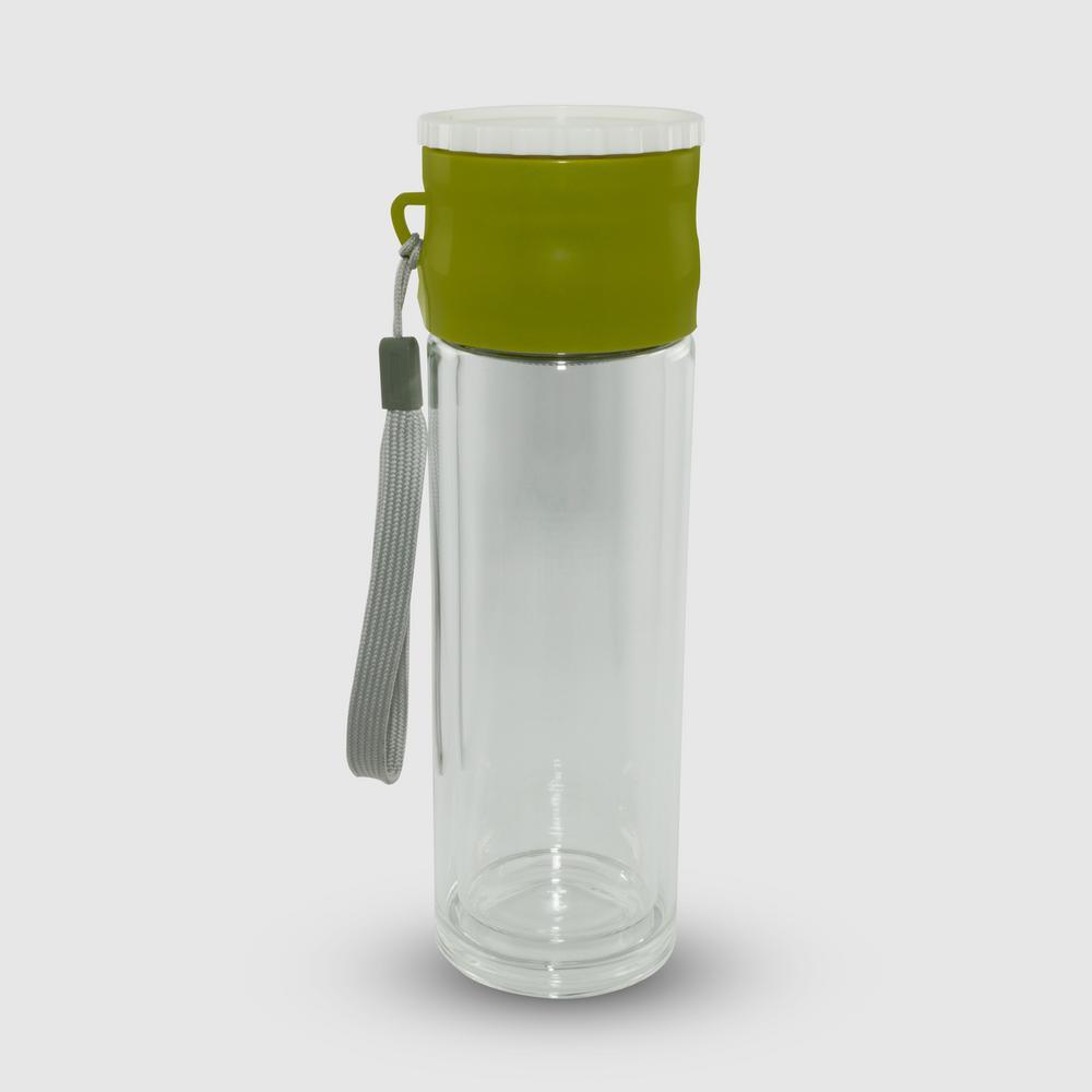 Cook Pro 682 Double Borosilicate Glass Wall Tea Infusion Tumbler 8.8 oz Green