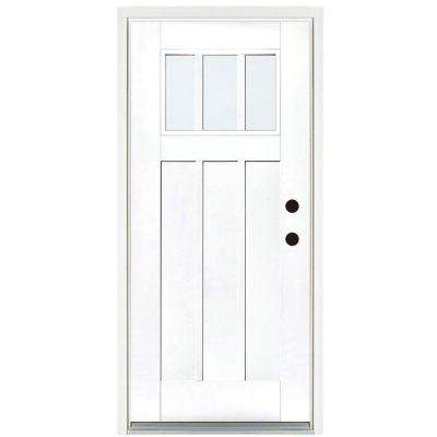36 in. x 80 in. Smooth White Left-Hand Inswing 3-Lite LowE Classic Craftsman Finished Fiberglass Prehung Front Door