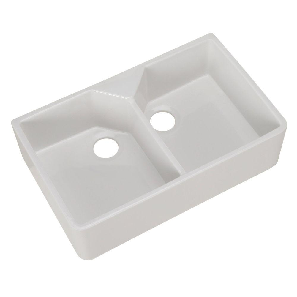Farmhouse Apron Front Fireclay 32 in. Double Bowl Kitchen Sink in