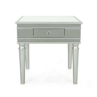 Marinette Modern Mirrored Accent Table with Silver Fir Wood Frame