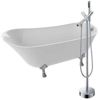 Legion 66.93 in. Acrylic Clawfoot Non-Whirlpool Bathtub in White with Havasu Faucet in Polished Chrome