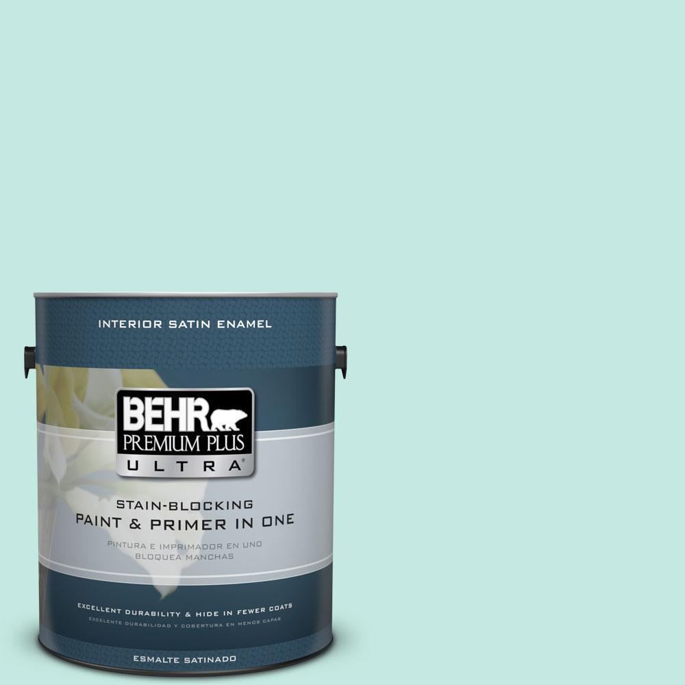 BEHR Premium Plus Ultra 1-gal. #P440-2 Clear Aqua Satin Enamel Interior Paint