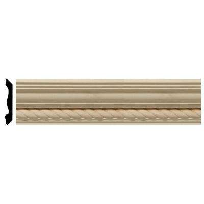 2-3/8 in. x 96 in. x 2-1/4 in. Unfinished Wood Maple Andrea Rope Carved Crown Moulding