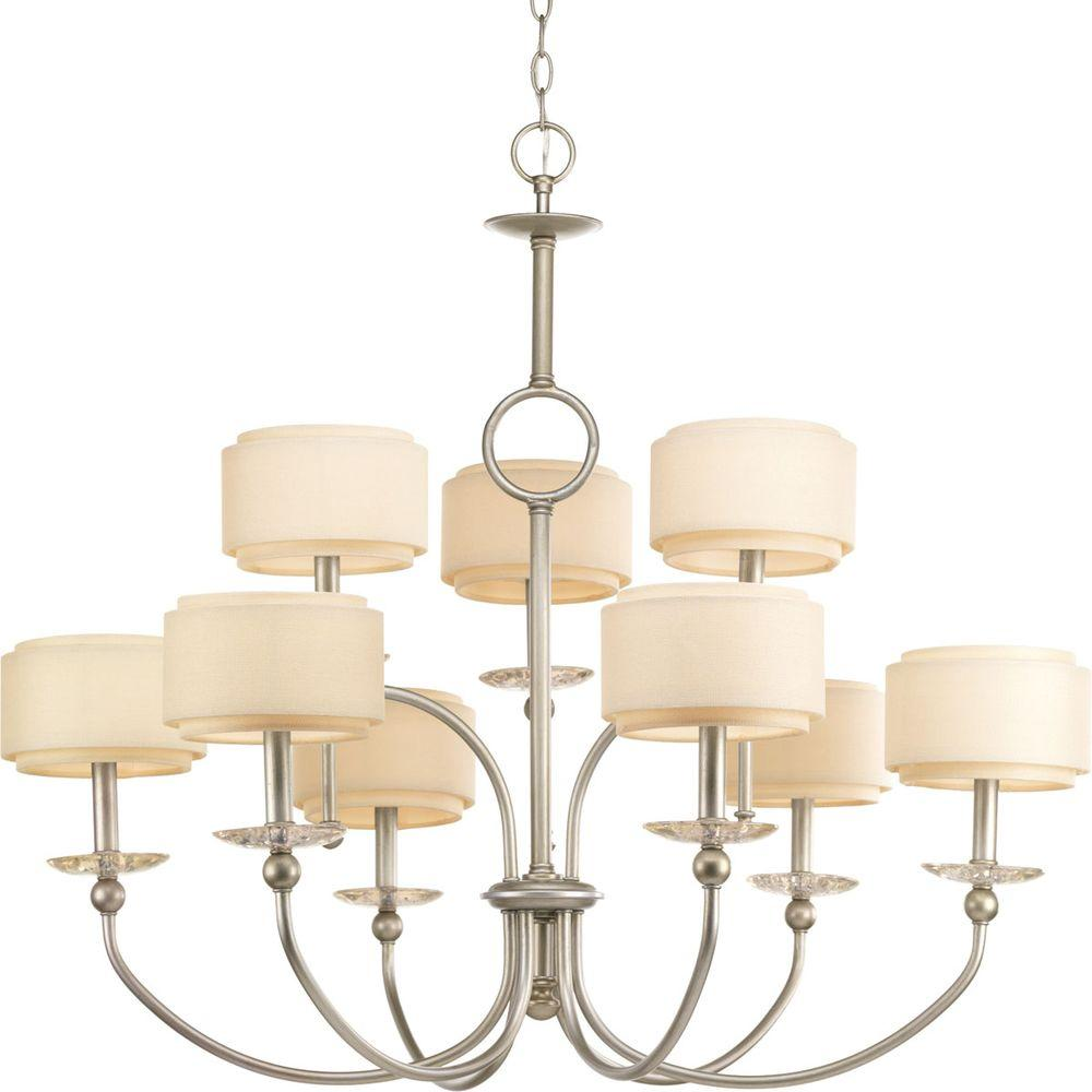 Ashbury Collection 9-Light Silver Ridge Chandelier with Shade with Toasted Linen