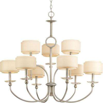 Ashbury Collection 9-Light Silver Ridge Chandelier with Toasted Linen Shade