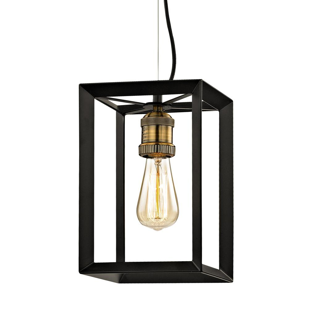 Walden Forge 1-Light Black Frame Mini Pendant with Antique Brass Socket