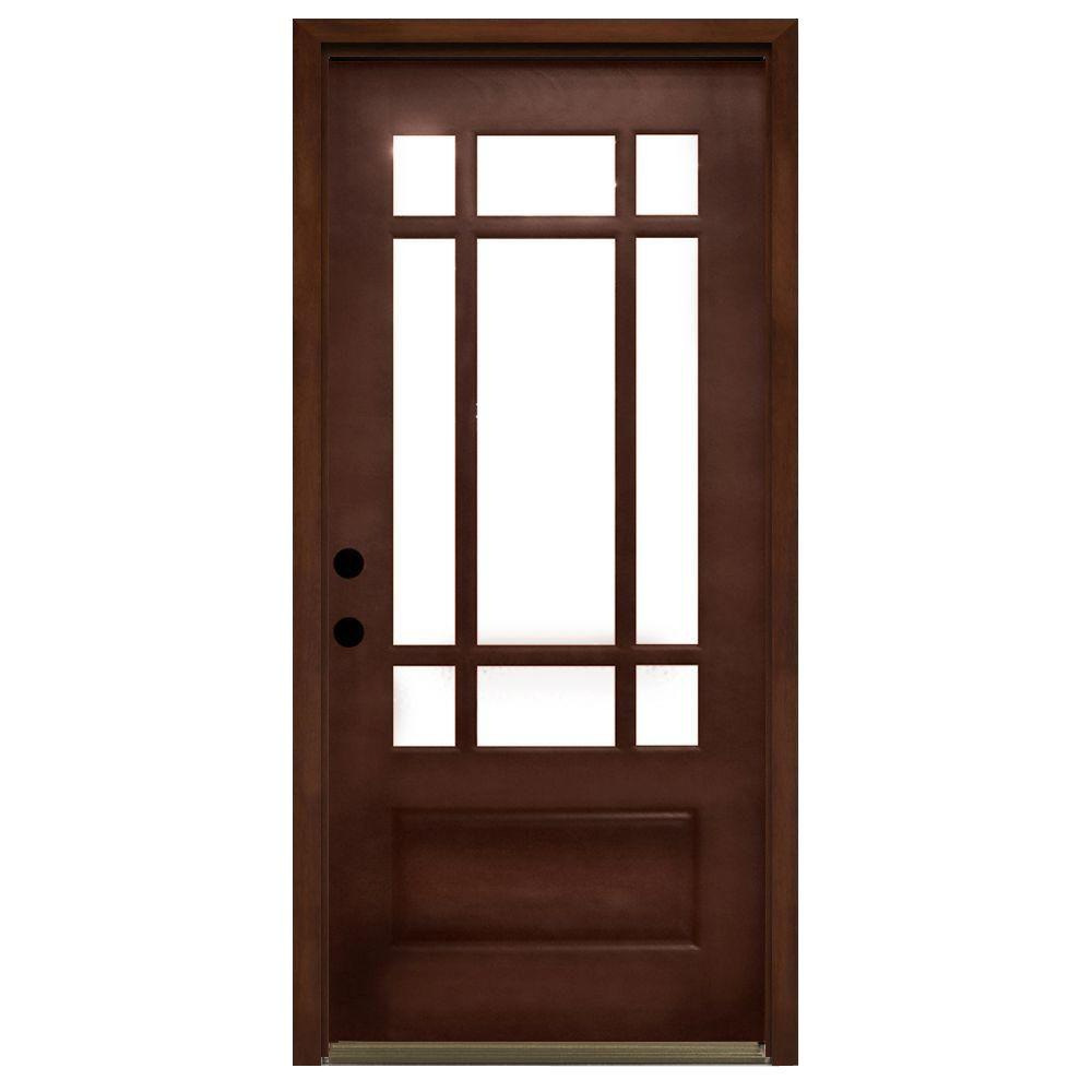 Craftsman 9 Lite Stained Mahogany Wood