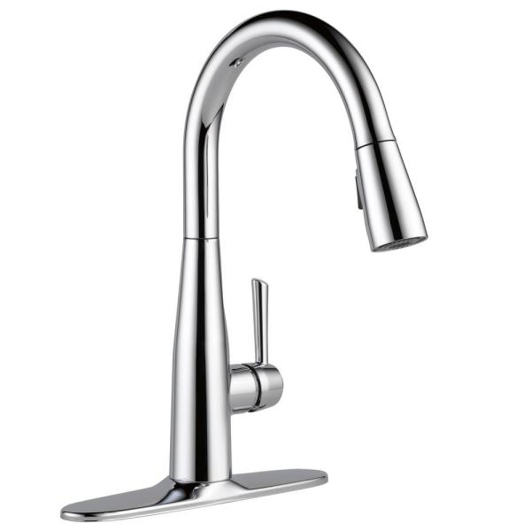 Delta Essa Single Handle Pull Down Sprayer Kitchen Faucet With Magnatite Docking In Chrome 9113 Dst The Home Depot