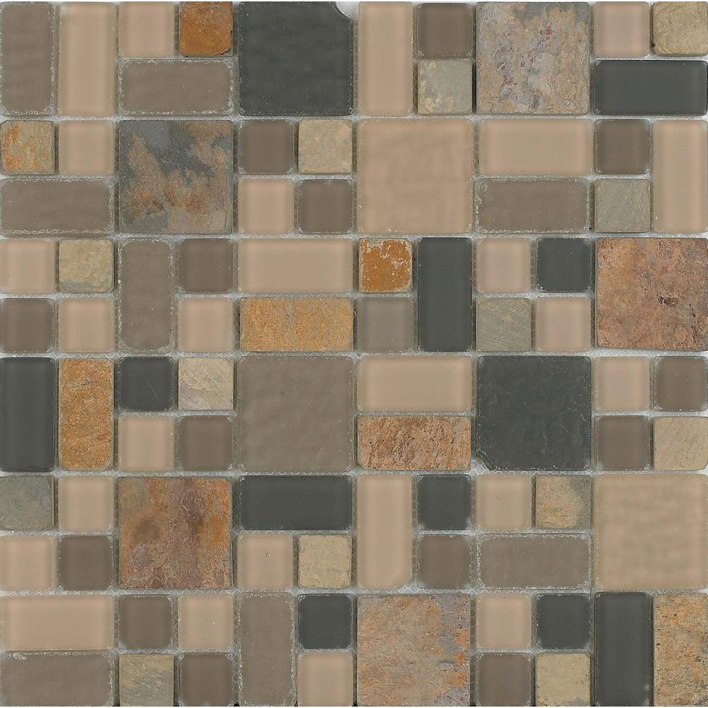 Epoch Architectural Surfaces No Ka 'Oi Hana-Ha420 Stone And Glass Blend Mesh Mounted Floor and Wall Tile - 3 in. x 3 in. Tile Sample
