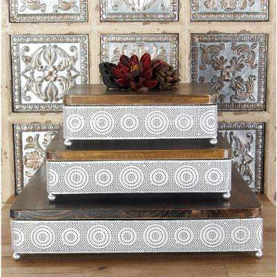 Metallic Silver Square Decorative Trays with Circular Details (Set of 3)