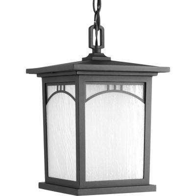 Residence Collection 1-Light Textured Black LED Outdoor Hanging Lantern