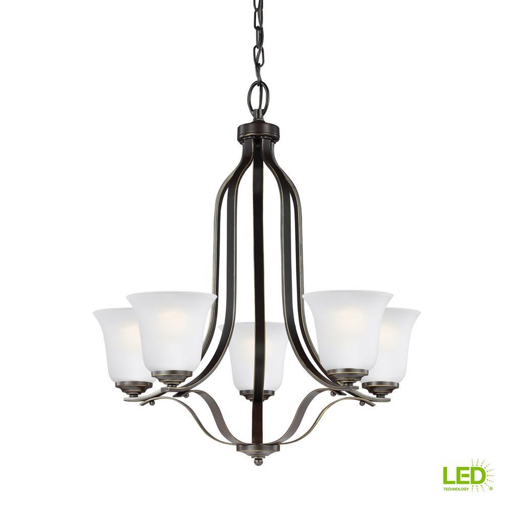 Emmons 5-Light Heirloom Bronze Chandelier with LED Bulbs