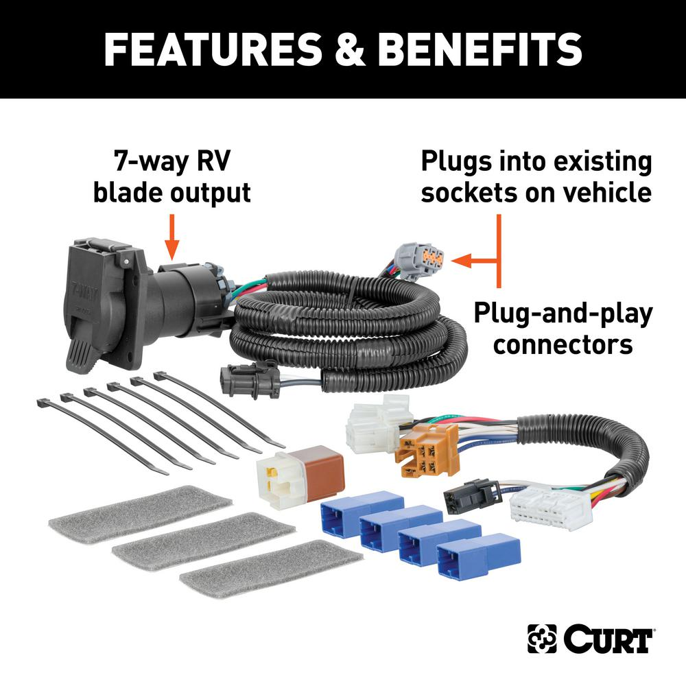 CURT Custom Vehicle-Trailer Wiring Harness, 7-Way RV Blade, Select  Pathfinder, JX35, QX60, OEM Tow Package Required-56357 - The Home Depot  The Home Depot