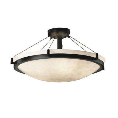 Clouds Ring 27 in. 6-Light Matte Black Semi-Flush Mount with Clouds Shade