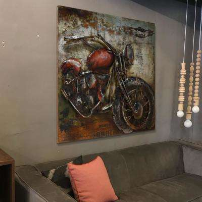 """40 in. x 40 in. """"Motorcycle 2"""" Mixed Media Iron Hand Painted Dimensional Wall Art"""