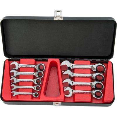 1/4 in. to 3/4 in. Stubby, Reversible Combination Ratcheting Wrench Set (9-Piece)