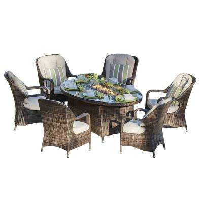 Jade 47 in. x 70 in. Brown Oval Wicker Propane Gas Fire Pit Table with Chairs