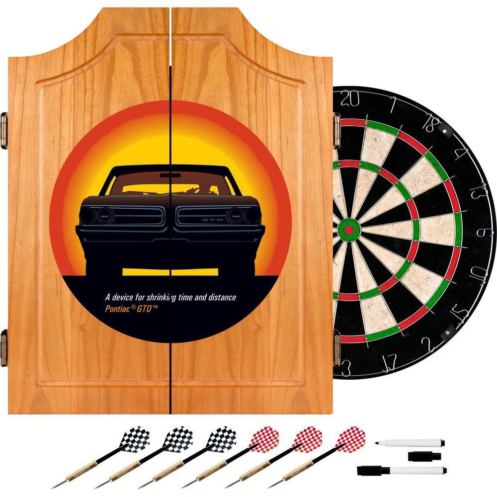 Trademark Pontiac GTO Time and Distance Wood Finish Dart Cabinet Set
