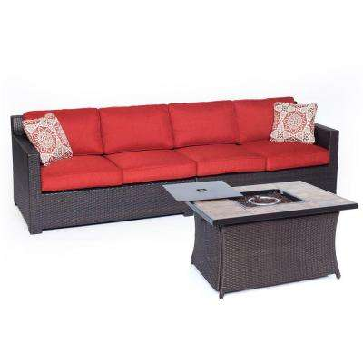 Metropolitan Brown 3-Piece All-Weather Wicker Patio Fire Pit Seating Set with Autumn Berry Cushions and Porcelain Tile