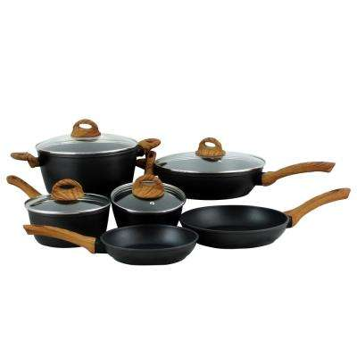 Newbury 10-Piece Black Cookware Set with Lids