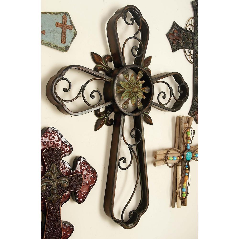 23 in. x 29 in. Copper Brown Iron Fleur de Lis Wall Cross