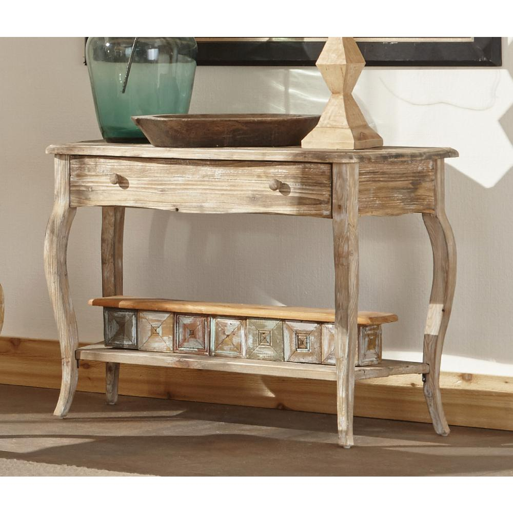 Alaterre Furniture Rustic Driftwood Storage Console Table