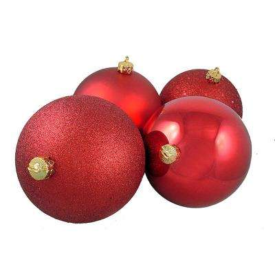 6 in. (150 mm) Red Hot Shatterproof 4-Finish Christmas Ball Ornaments (4-Count)