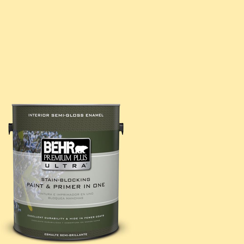 BEHR Premium Plus Ultra 1-gal. #370A-2 Pale Daffodil Semi-Gloss Enamel Interior Paint