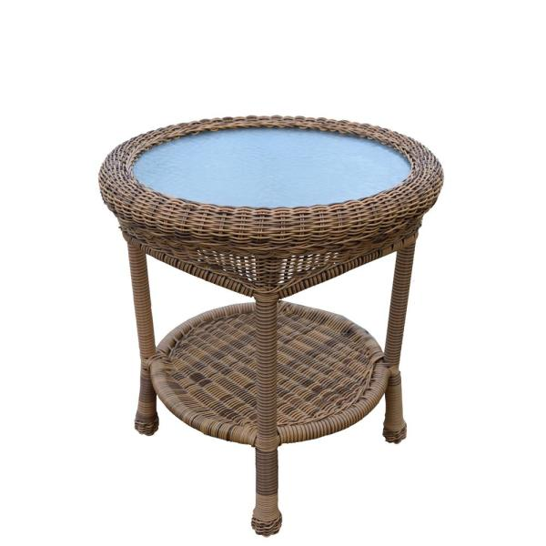 Natural Round Wicker Outdoor Side Table