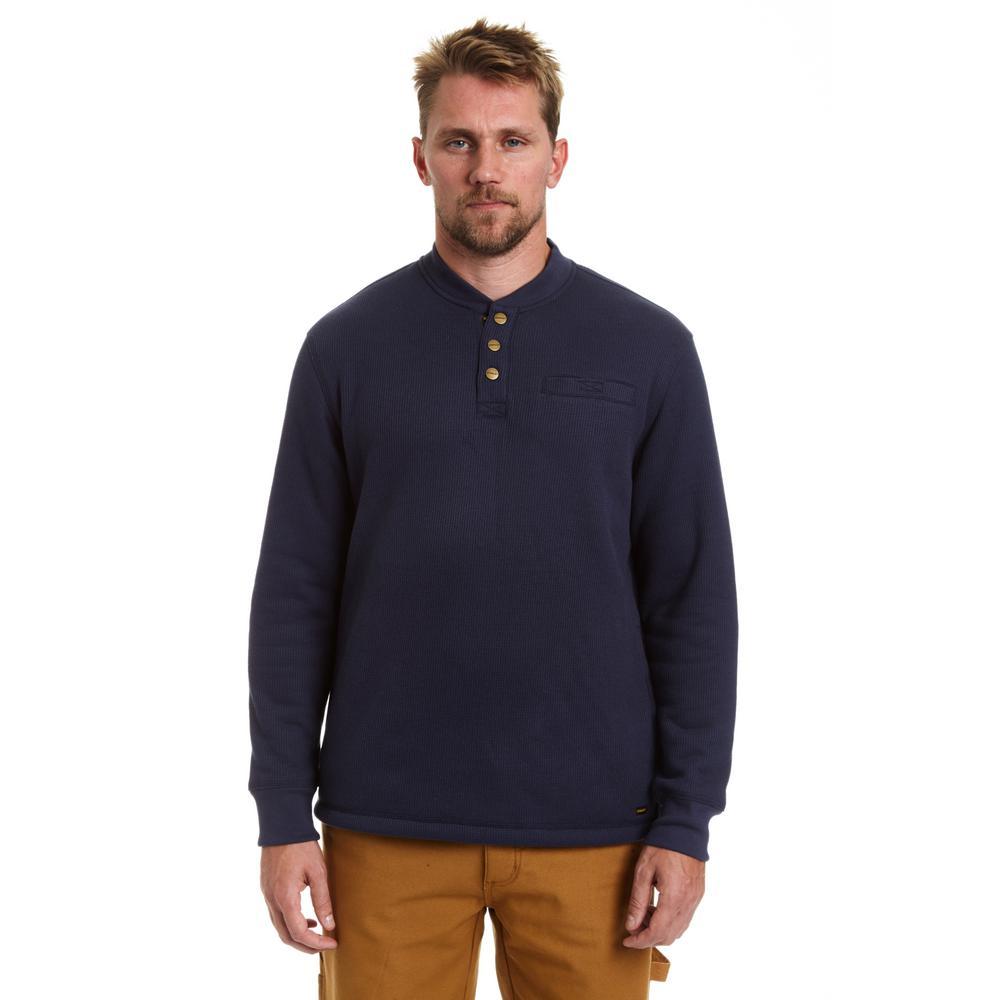 Men's Small Indigo Sherpa Lined Henley Thermal Shirt