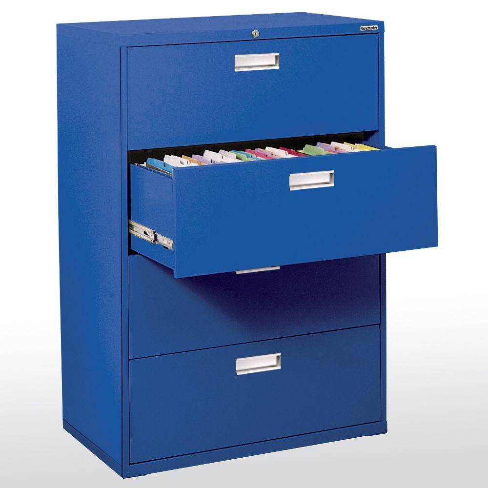 W 4 Drawer Lateral File Cabinet In Blue