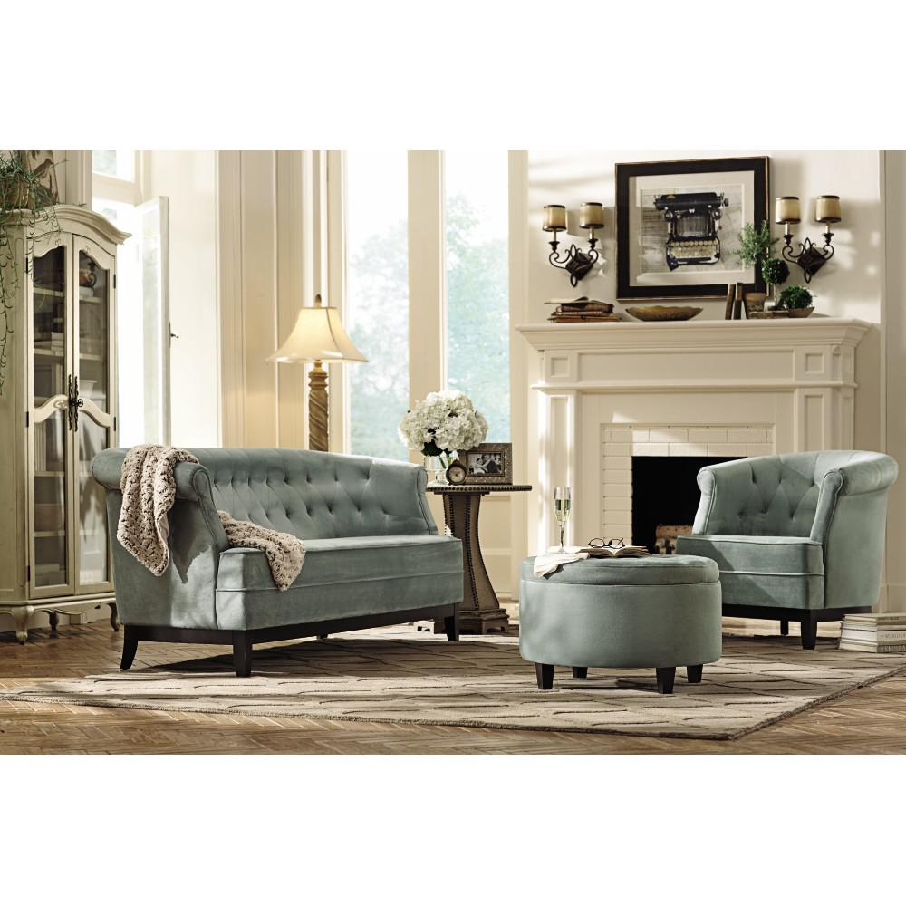 Home decorators collection emma sea green velvet sofa for Home depot home decorators