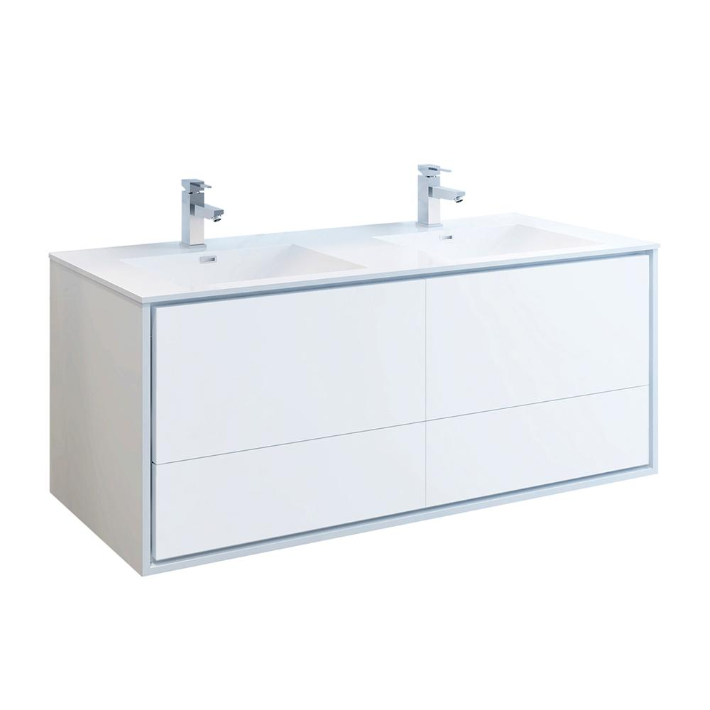 Fresca Catania 60 in. Modern Double Wall Hung Bath Vanity in Glossy White, Vanity Top in White with White Basins