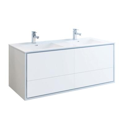 Catania 60 in. Modern Double Wall Hung Bath Vanity in Glossy White, Vanity Top in White with White Basins