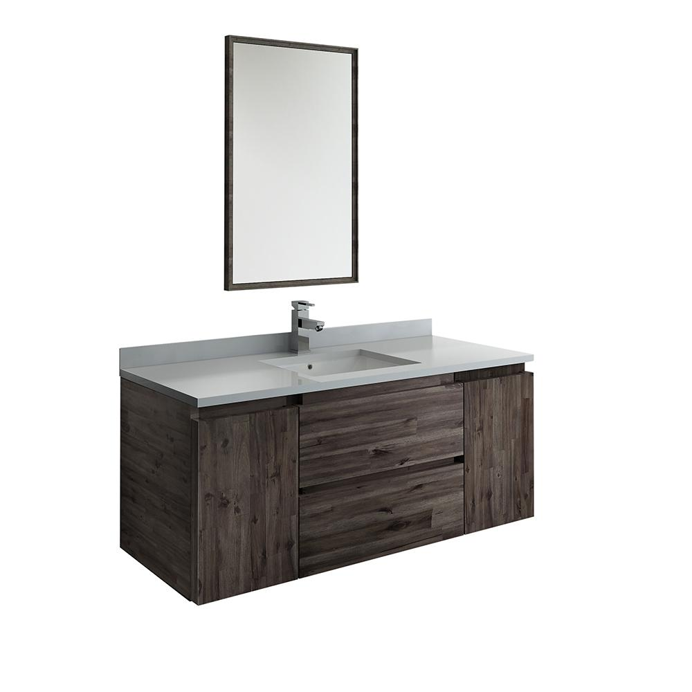 Modern Wall Mount Vanity.Fresca Formosa 48 In Modern Wall Hung Vanity In Warm Gray With Quartz Stone Vanity Top In White With White Basin And Mirror